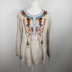Sundance long sleeve embroidered top boho shirt xl